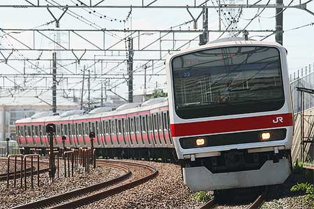 209系500番台ケヨ32編成が東京総合車両センターから出場
