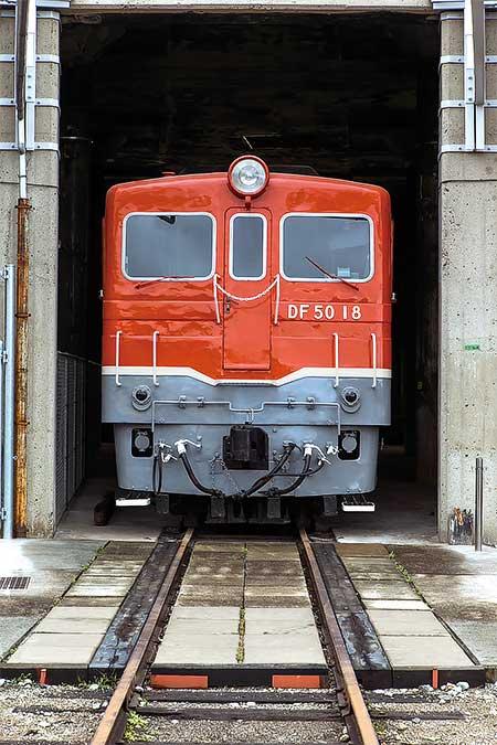 津山まなびの鉄道館で「DF50搭載 転車台回転実演」開催