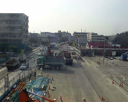 建設時の北山田駅付近