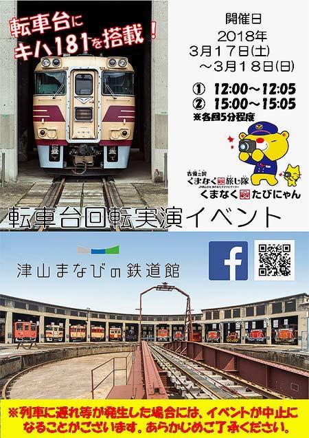津山まなびの鉄道館で「キハ181搭載 転車台回転実演」開催