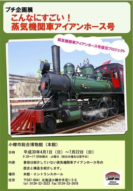 小樽市総合博物館で,プチ企画展「こんなにすごい!蒸気機関車アイアンホース号」開催