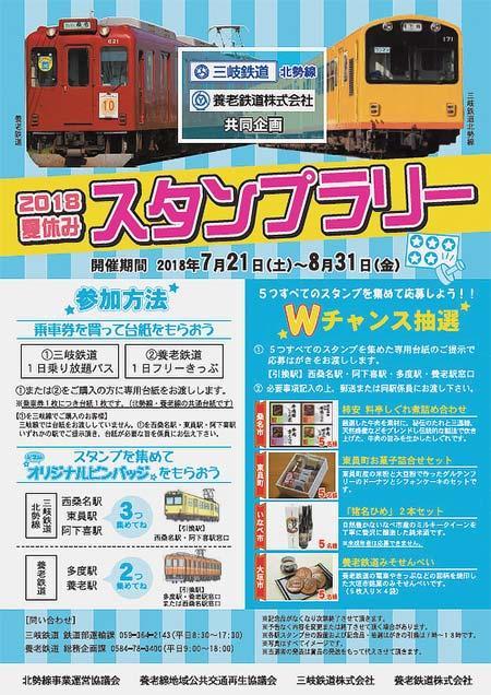 三岐鉄道北勢線・養老鉄道「2018夏休みスタンプラリー」開催