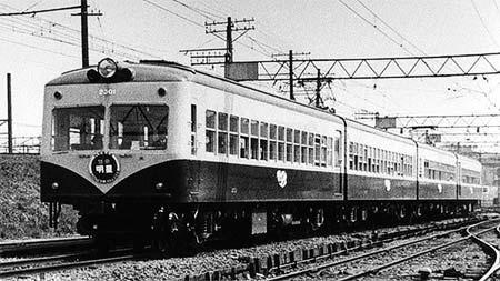 昭和31年頃の特急「明星号」2300形(小田急電鉄提供)