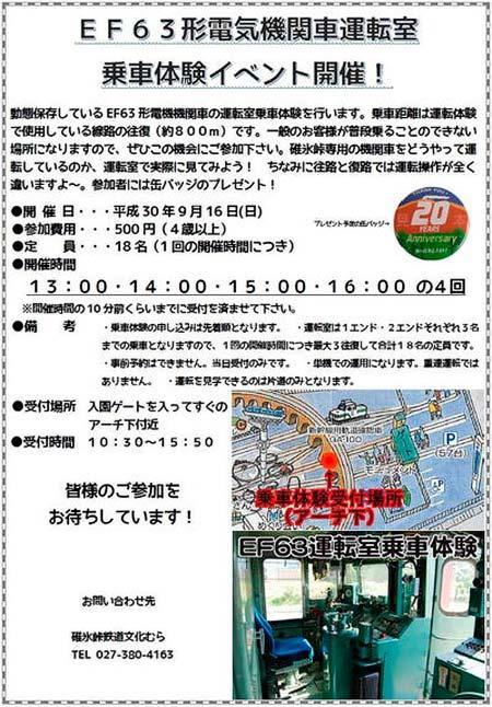 碓氷峠鉄道文化むらで「EF63形電気機関車運転室乗車体験イベント」開催