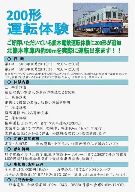 熊本電鉄「200形・5000形運転体験」開催