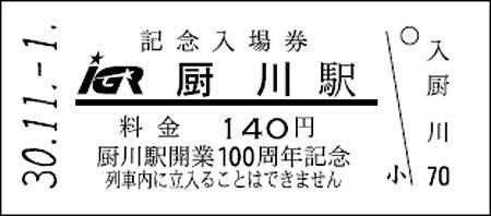 IGRいわて銀河鉄道「厨川駅開業100周年記念企画」実施