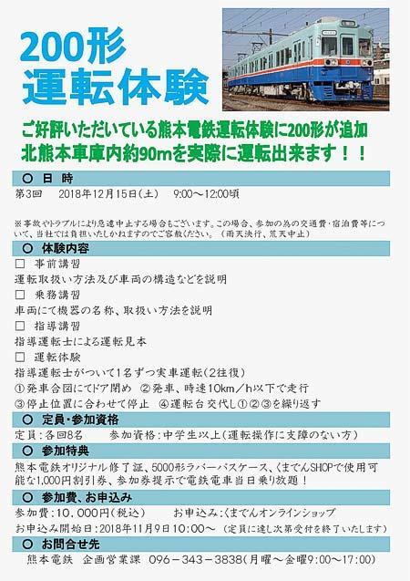 熊本電鉄「200形運転体験」参加者募集