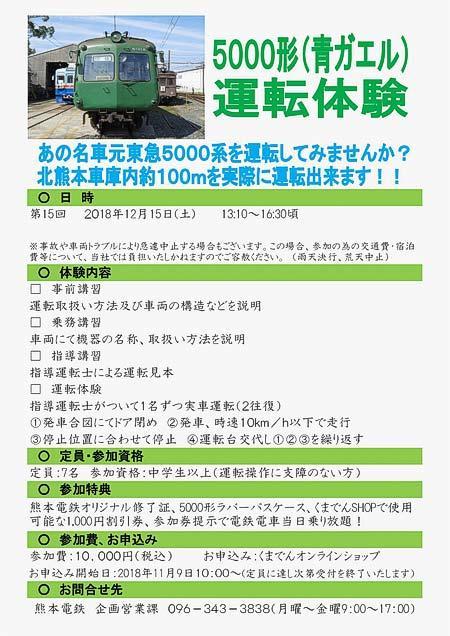 熊本電鉄「5000形運転体験」参加者募集