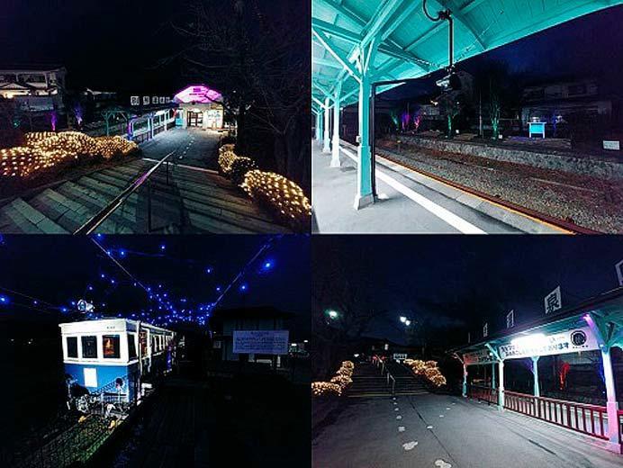 上田電鉄,大学前駅・別所温泉駅をライトアップ