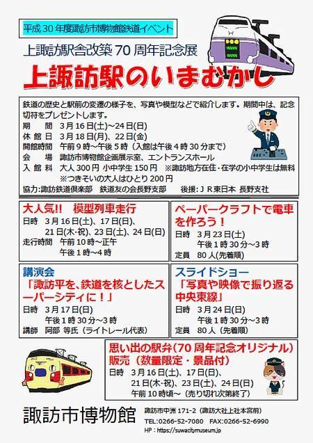 諏訪市博物館で「上諏訪駅のいまむかし」開催