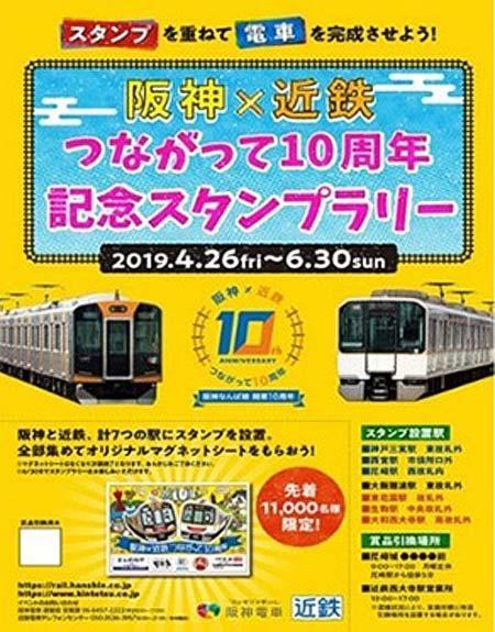 「阪神×近鉄つながって10周年記念スタンプラリー」開催