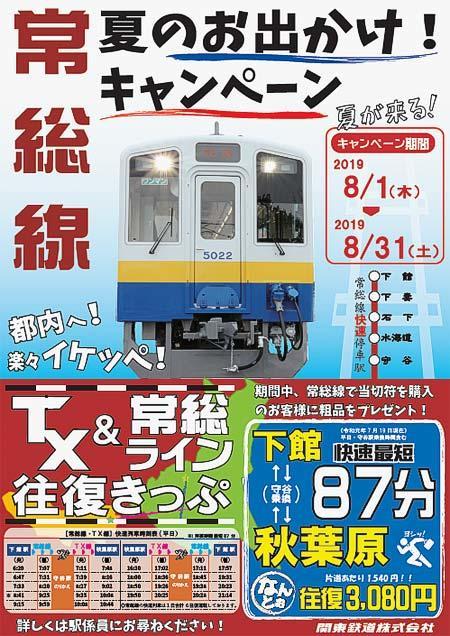 関東鉄道,常総線「夏のお出かけ!キャンペーン」実施