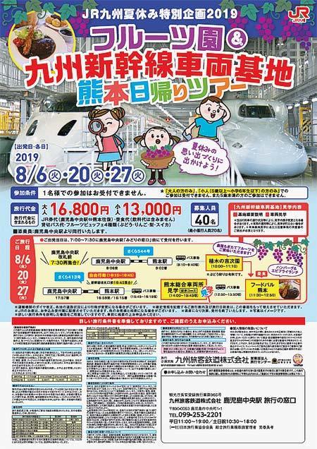 「フルーツ園&九州新幹線車両基地 熊本日帰りツアー」開催