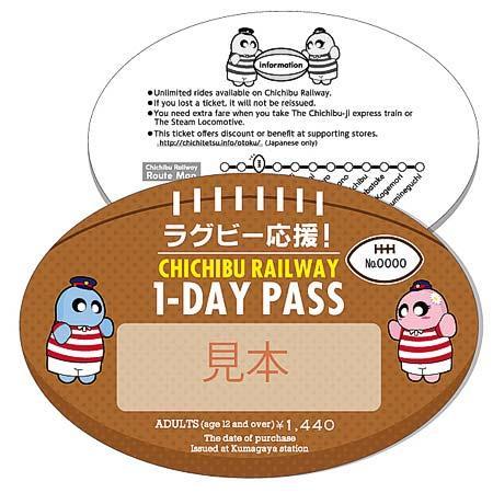 ラグビーボール型の乗車券「ラグビー応援!Chichibu Railway 1-Day Pass」のイメージ