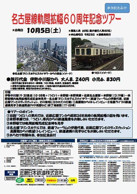 近鉄「名古屋線軌間拡幅60周年記念ツアー」参加者募集