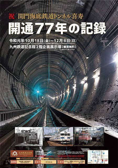 九州鉄道記念館,企画展「祝 関門海底鉄道トンネル喜寿 開通77年の記録」開催
