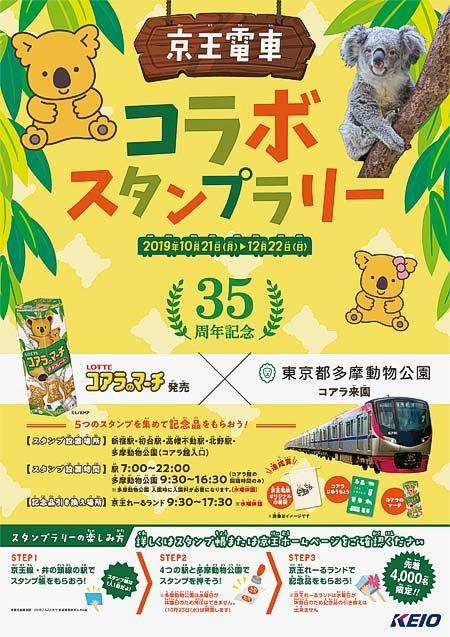 京王・ロッテ・多摩動物公園「コアラ来園・コアラのマーチ発売35周年記念スタンプラリー」開催