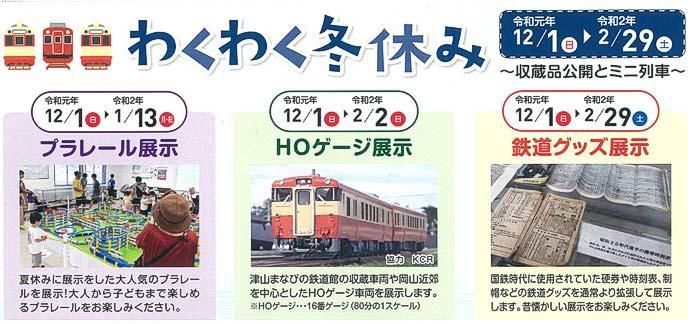 津山まなびの鉄道館で「わくわく冬休み~収蔵品公開とミニ列車~」開催