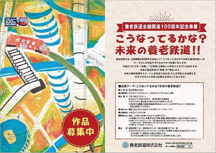 養老鉄道,全線開通100周年記念企画「こうなってるかな?未来の養老鉄道!!」の作品募集