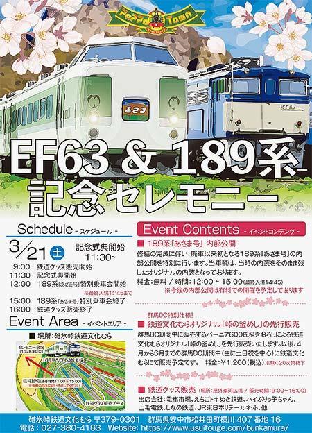 碓氷峠鉄道文化むらで「EF63&189系記念セレモニー」開催