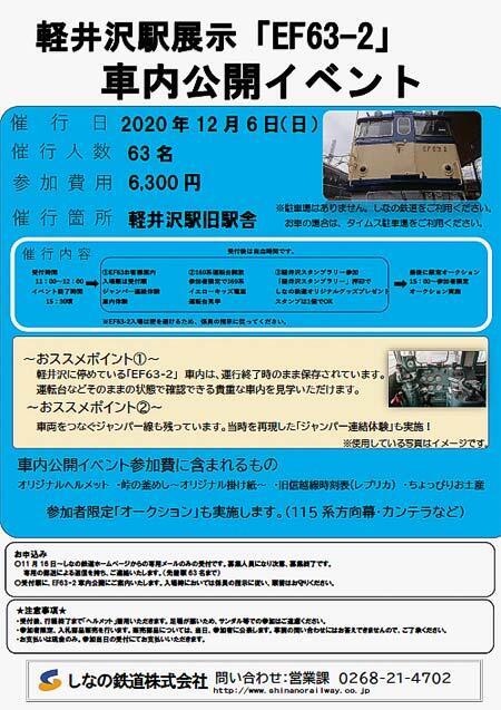 しなの鉄道『軽井沢駅展示「EF63-2」車内公開イベント』開催