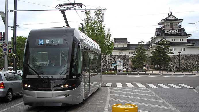 城を背景とした路面電車の風景
