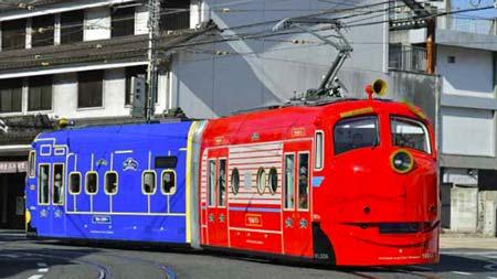 鉄道ファン 乗車インプレッション 岡山電気軌道9200形1081号車「おかでんチャギントン電車」