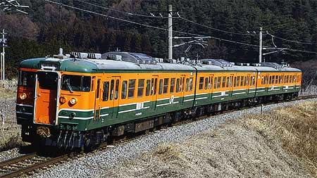 115系訓練車が辰野支線を走行