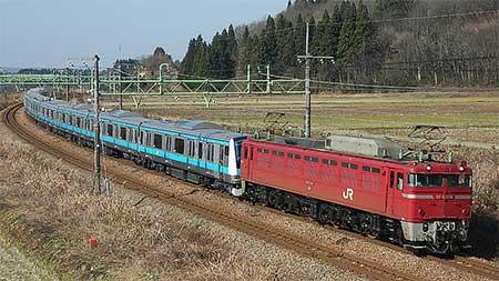 EF81 134がE233系1000番台の配給輸送をけん引