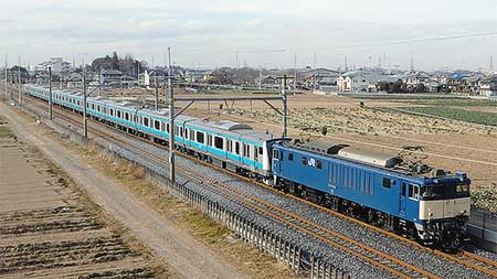 E233系1000番台ウラ183編成が配給輸送される