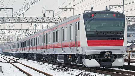 京葉線用E233系5000番台が配給輸送される