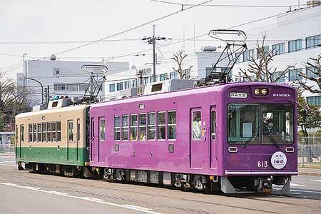 嵐電「京紫色」車両が営業運転を開始