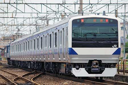 E531系K467編成が配給輸送される