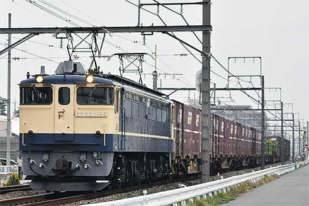 EF65 1104が貨物運用に