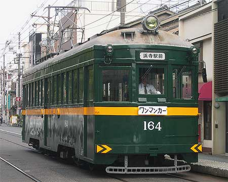 阪堺モ164がライン塗装に