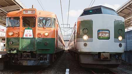軽井沢で189系と169系が並ぶ