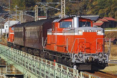 吾妻線でDD51+旧客による試運転