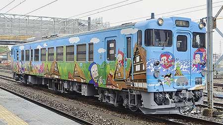 キハ40 2135「忍者ハットリくん列車」が新デザインに