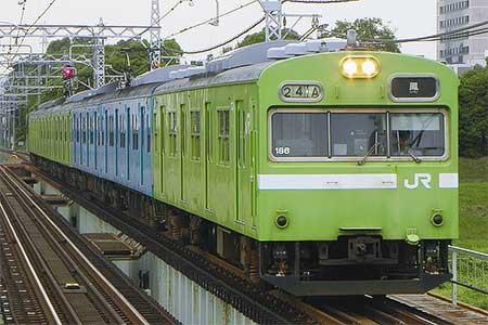 阪和線の103系に新混色編成