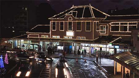 折尾駅のイルミネーションが3年ぶりに復活