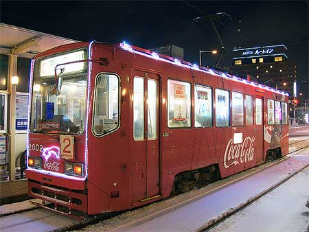 函館市電で「ひかりの電車」運行中