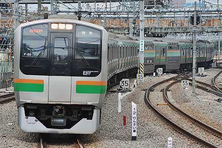 E217系F-03編成が東京総合車両センターに入場