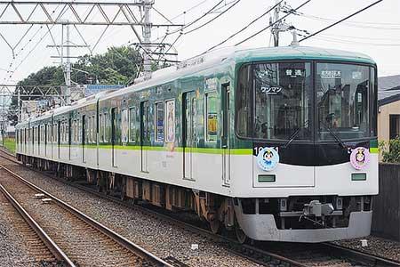 京阪「ひこぼしくん」「おりひめちゃん」ラッピング電車運転中