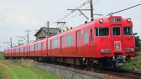名鉄三河線の列車に名古屋グランパス20周年記念系統板