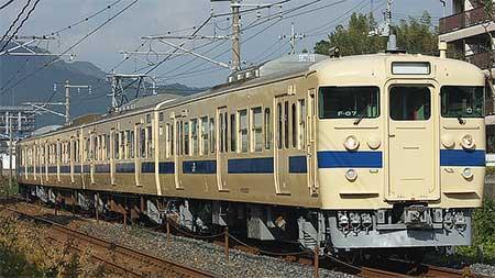 下関総合車両所から115系瀬戸内色編成が出場