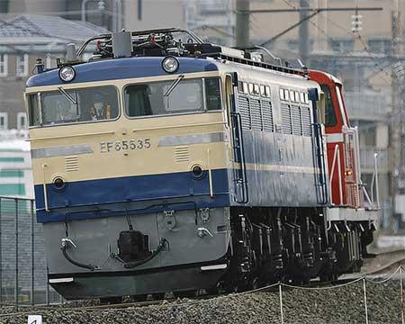 EF65 535が構内試運転