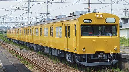 103系D-02編成が黄色一色で試運転
