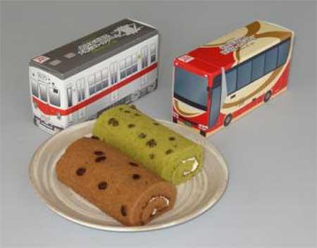 小矢部川北鉄レストランで電車&バス形オリジナルロールケーキ発売