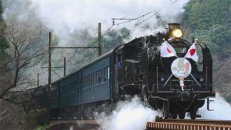 大井川鐵道C11 190に日章旗とヘッドマーク