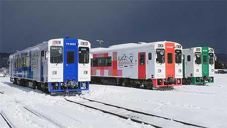 由利高原鉄道YR3000形3両並べて公開